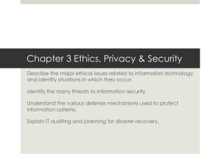 Chapter 3 Ethics, Privacy & Security