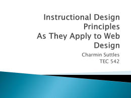 Instructional Design Principles As They Apply to