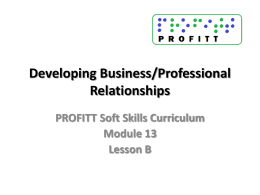 Developing Business/Professional Relationships