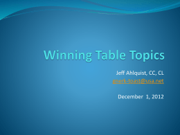 Winning Table Topics - Toastmasters District 57