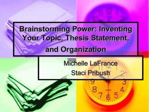 Brainstorming Power: Inventing Your Topic, Thesis