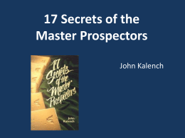 17 Secrets of the Master Prospectors