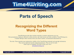 Parts of Speech Recognizing the Different Word Types