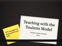 Teaching The Toulmin Model - Tindley Accelerated Schools