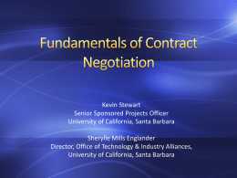 Session 12 - Fundamentals of Contract Negotiation