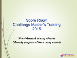 Challenge Master Training - DI Scoring Program Web Page