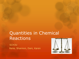 quantities in chemical reactions