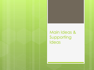 Main Ideas & Supporting Ideas - River Dell Regional School District