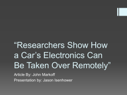 Researchers Show How a Car`s Electronics Can Be Taken Over