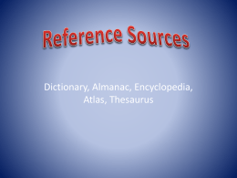 Reference Sources (10 Questions) 3rd Grade