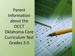 Parent Information about the OCCT Oklahoma Core Curriculum Test