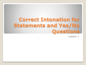 Correct Intonation for Statements and Yes/No Questions