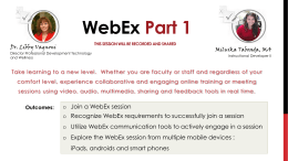 Welcome to WebEx Part 1