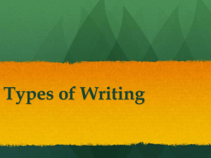 PowerPoint Presentation - Types of Writing