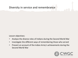 Diversity in Service and Remembrance during SWW (PowerPoint)