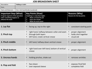 T-shirt folding Job Breakdown sheet