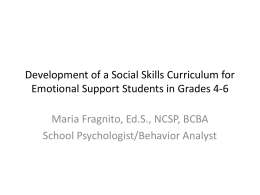 Development of a Social Skills Curriculum for Emotional Support