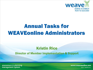 Annual Tasks for WEAVEonline Administrators
