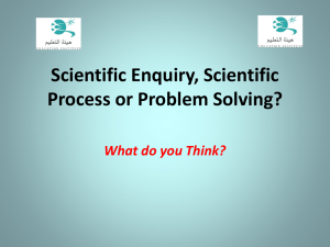 Scientific Enquiry, Scientific Method or Problem