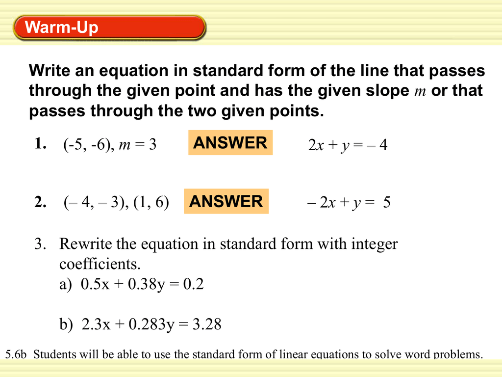 standard form with integer coefficients  7.7b Word Problems with Standard Form - PMS-Math