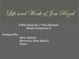 WEB QUEST Life and Work of Jose Rizal