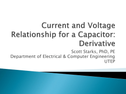 Current and Voltage Relationship for a Capacitor: Derivative