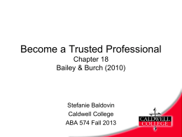 Chap 18 Becoming a Trusted Professional - Stefanie