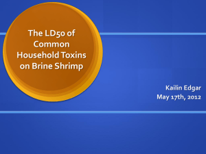 The LD50 of Common Household Toxins on Brine Shrimp