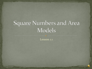 Lesson 1: Square Numbers and Area Models