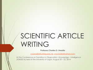 SCIENTIFIC ARTICLE WRITING - ISKO