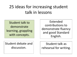 25 ideas for increasing student talk in lessons.