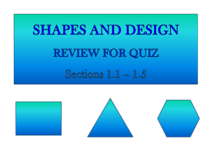 SHAPES AND DESIGN REVIEW FOR QUIZ Sections 1.1 * 1.5