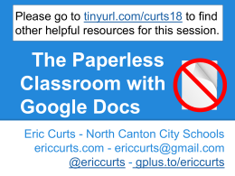 The Paperless Classroom with Google Docs