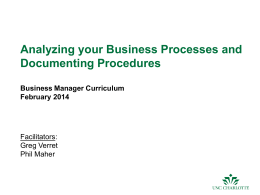 Business Process Analysis and Documenting Procedures