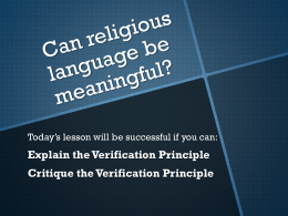 Verification principle - mrslh Philosophy & Ethics