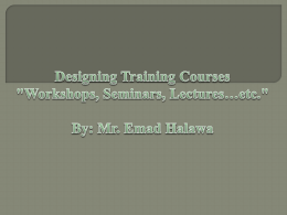 Designing training courses-Emad - ELT General Supervision Kuwait
