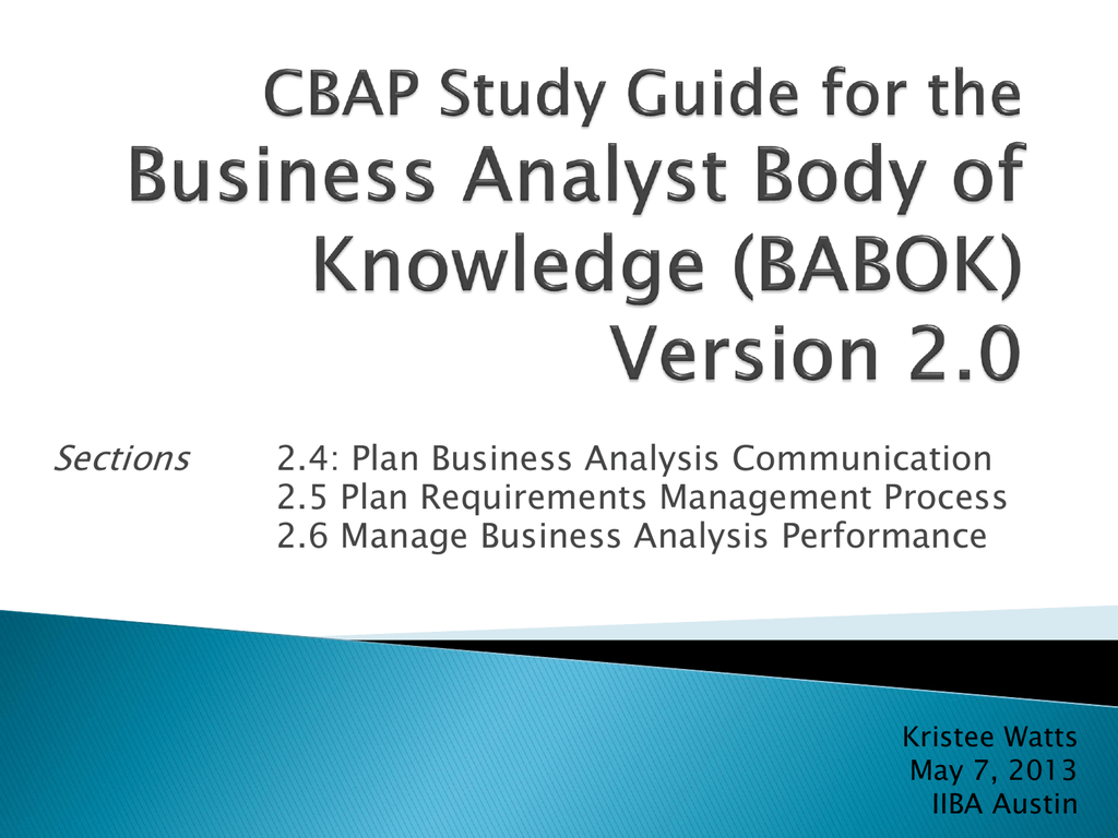 The Cbap Study Guide For Babok Chapter