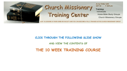 10 WEEK CHURCH MISSIONARY TRAINING COURSE