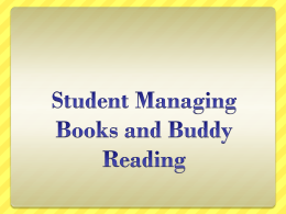 Student Management and Buddy Reading - Reading