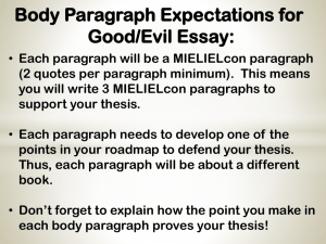 Body Paragraph Expectations