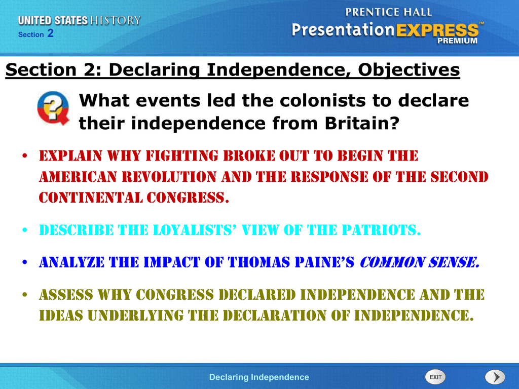 what events led to the declaration of independence