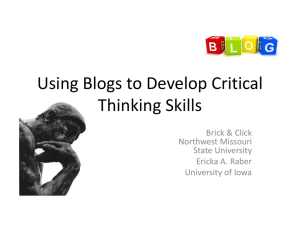 Using Blogs to Develop Critical Thinking Skills