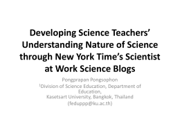 Developing Science Teachers* Understanding Nature of Science