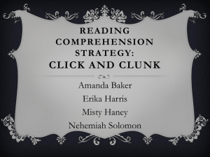Reading Comprehension Strategy Click and Clunk