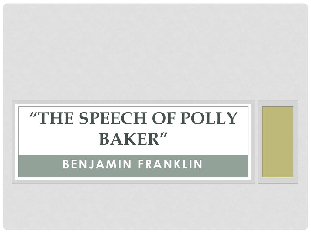 the speech of miss polly baker quizlet