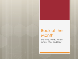 Book of the Month - Mrs. Bunts Language Arts