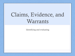 Claims, Evidence, and Warrants