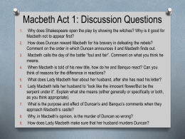 Macbeth Act 1: Discussion Questions