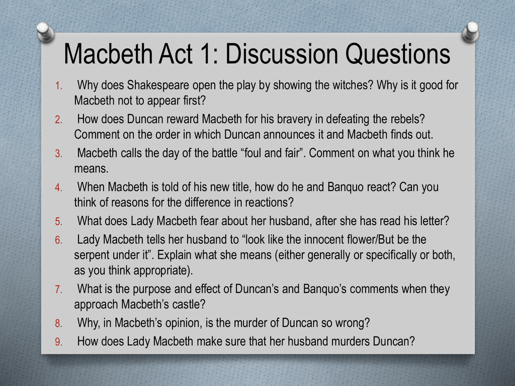 contradiction in act 1 of macbeth A bbc bitesize secondary school revision resource for standard grade english on witches in macbeth: interpretations, the prophecies' power over macbeth.