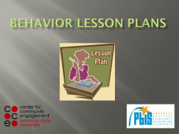 Behavior lesson plans - Center for Community Engagement